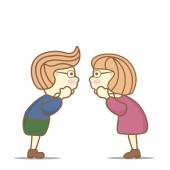 Two kids (boy and girl) tell each other interestin