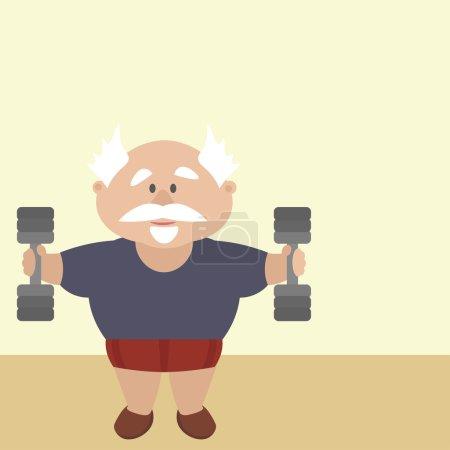 Aktiver Rentner engagiert sich im Fitnessstudio, stemmt Gewichte