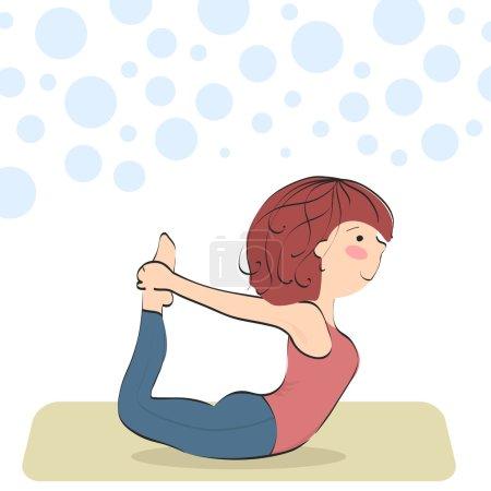 Ddhanurasana. Bow pose. Yoga pose for beginners.