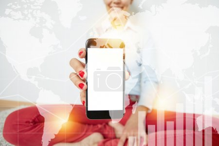Photo for Double exposure. Female hands holding smart phone with copy space for your advertisement. Cropped shot of smiling girl showing interesting content on cell phone isolated against white wall background - Royalty Free Image
