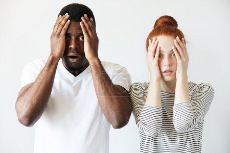 shocked interracial couple