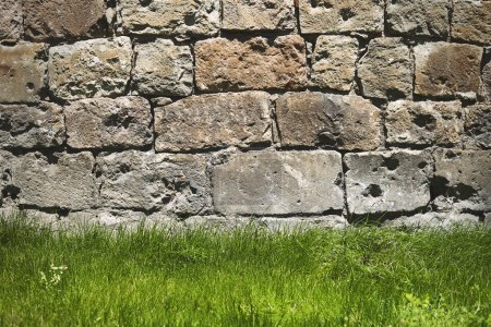 Close up brick wall background with green grass