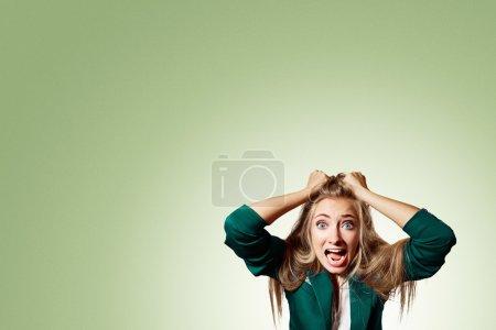 Portrait headshot very sad depressed, stressed disappointed gloo