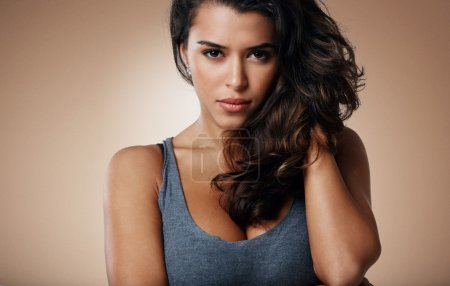 close-up portrait of beautiful brunette mixed race girl. Beauty woman over isoleted background, make-up.