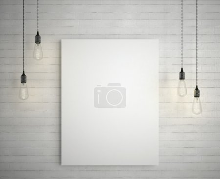 Blank white poster on brick wall hanging under decorative vintage light bulbs