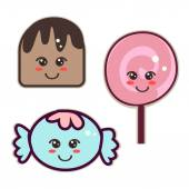sweets kawaii style candy and lollipops with eyes