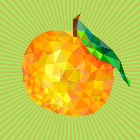 Mandarin abstract triangles, seamless pattern, fruit background