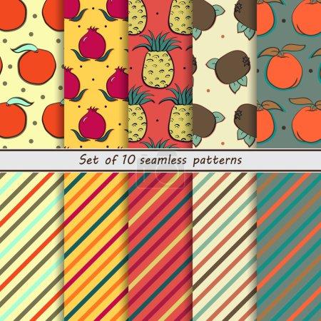 set of seamless fruit and striped patterns, mandarin, pomegranate, pineapple, kiwi, peach