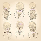 Set of wedding hairstyles