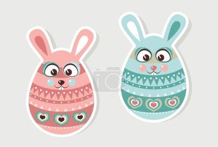 Photo pour Carte de vacances pour les vacances de Pâques garçon et fille Oeufs de Pâques - image libre de droit