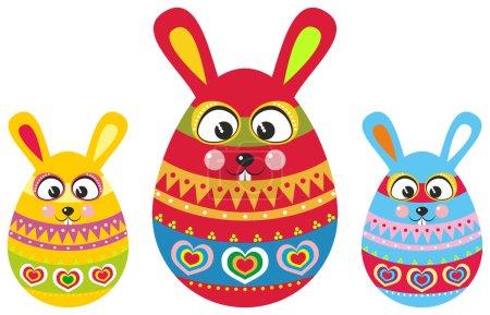 Photo pour Œufs de Pâques qui ressemblent à des lapins de Pâques avec de longues oreilles et un bel ornement de vacances - image libre de droit