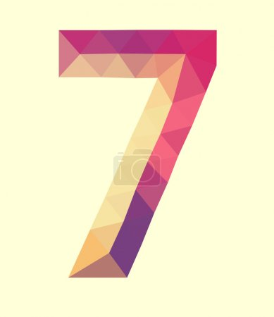low poly polygon number digit seven
