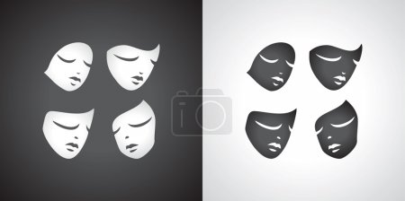 Illustration for Mask, masks, theatrical, icon, drama, theatre, theater, comedy, vector, tragedy, white, black, acting, illustration, background, performance, happiness, face, humor, sadness, entertainment, art, crying, actor, sad, symbol, human, smiling, stage, masq - Royalty Free Image