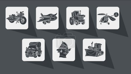 icons outline motor vehicle car plane ship helicopter