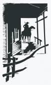 Vector cartoon cowboy western one line