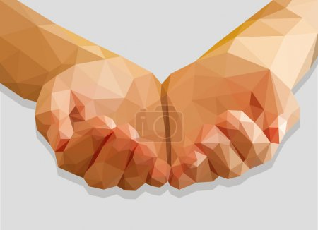 Illustration for Hands cupped empty polygon low-poly isolated on a gray background - Royalty Free Image