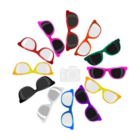 Big set 12 trendy sunglasses various colors on white