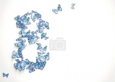 Photo for Womens day design, greeting card with March 8 and butterflies - Royalty Free Image