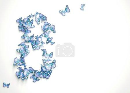 Photo pour Conception de jour des femmes, carte de vœux avec Mars 8 et papillons - image libre de droit