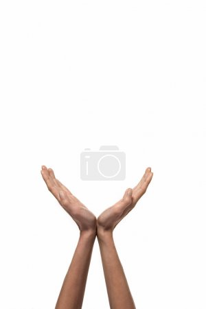 Hands open isolated on white