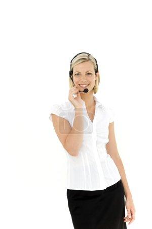 Portrait of a cheerful customer service representative