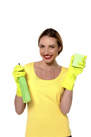 Woman ready for house keeping