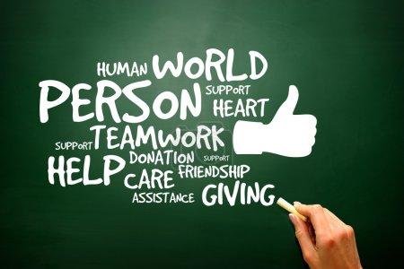Photo pour Charity and Help concept on blackboard, presentation backgroun - image libre de droit