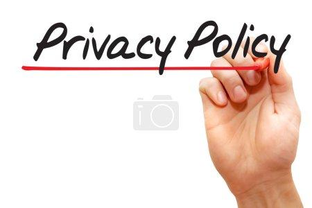 Escritura a mano Política de privacidad, negocio concep