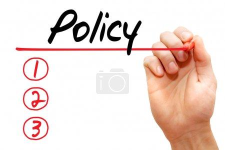 Photo pour Liste des politiques d'écriture à la main avec marqueur rouge, concession d'entreprise - image libre de droit
