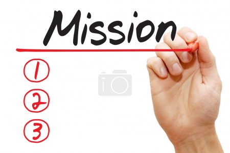 Hand writing Mission List, business concep