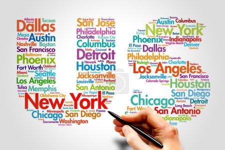 Photo pour États-Unis, noms de villes mot cloud travel concept - image libre de droit