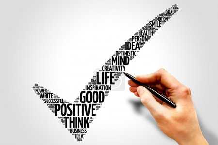 Positive thinking check mark word cloud, business ...