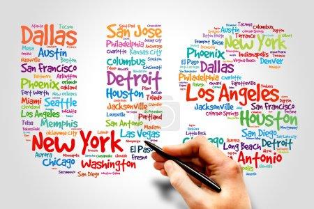 Photo pour Les villes américaines nomment les mots cloud, business concept - image libre de droit