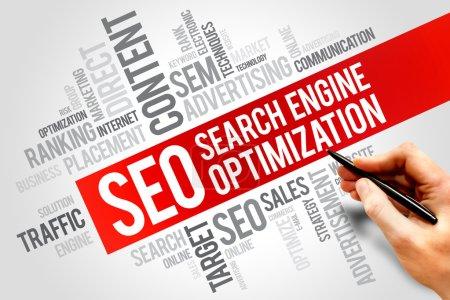 Photo pour Concept d'entreprise de référencement (search engine optimization) mot nuage - image libre de droit