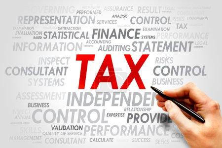 Photo pour TAX cloud mot, concept d'entreprise - image libre de droit