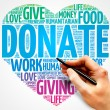 Donate word cloud, heart concept...