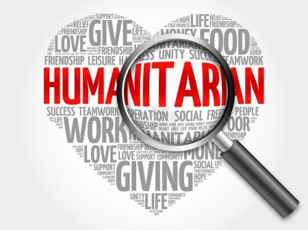 Photo pour Nuage de mot humanitaire avec loupe verre, concept - image libre de droit