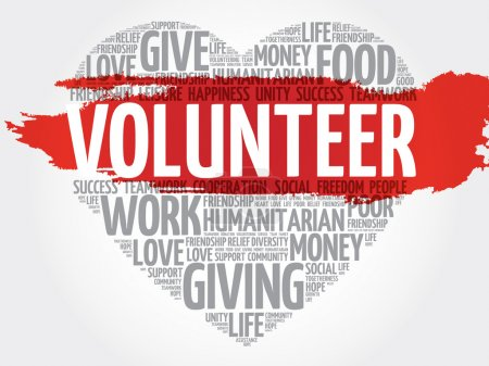 Illustration for Volunteer word cloud, heart concept - Royalty Free Image