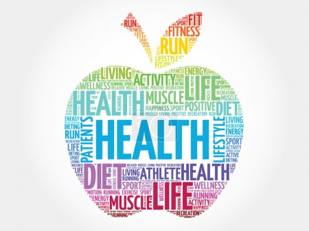 Colorful Health apple word cloud