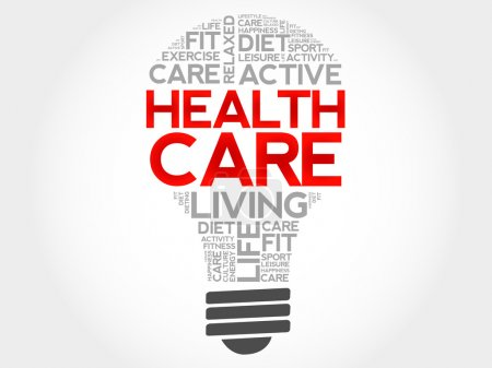 Illustration for Health care bulb word cloud, health concept - Royalty Free Image