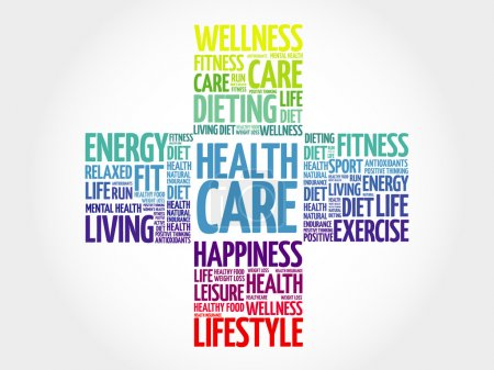 Illustration for Health care word cloud, health cross concept - Royalty Free Image