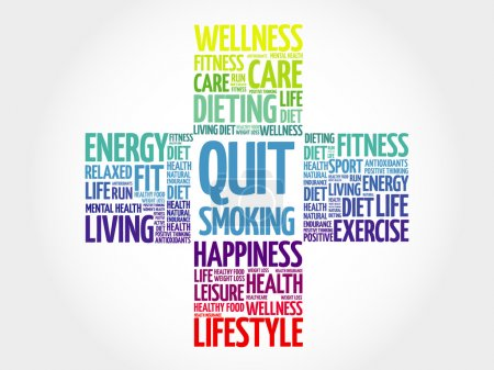 Illustration for Quit Smoking word cloud, health cross concept - Royalty Free Image