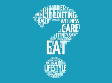 Illustration for Question mark word cloud, fitness, sport, health concept - Royalty Free Image