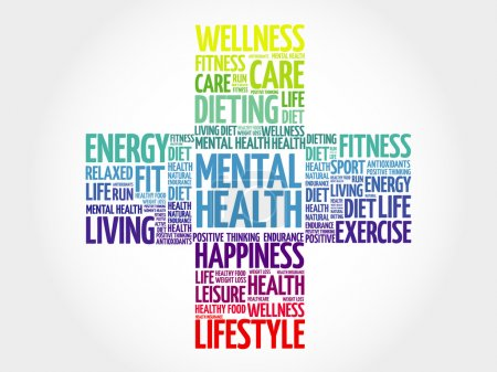 Illustration for Mental health word cloud, health cross concept - Royalty Free Image