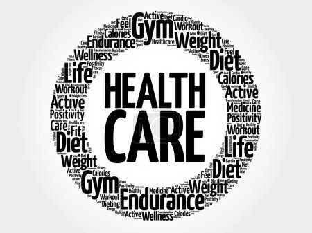 Illustration for Health care circle word cloud, fitness, sport, health concept - Royalty Free Image