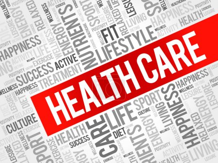 Illustration for Health care word cloud background, health concept - Royalty Free Image