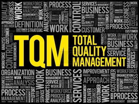 Illustration pour TQM - Gestion de la qualité totale nuage de mots, arrière-plan du concept d'entreprise - image libre de droit