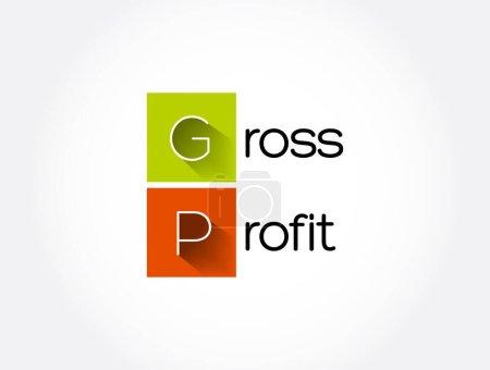 Illustration pour GP - Acronyme de bénéfice brut, contexte du concept d'entreprise - image libre de droit