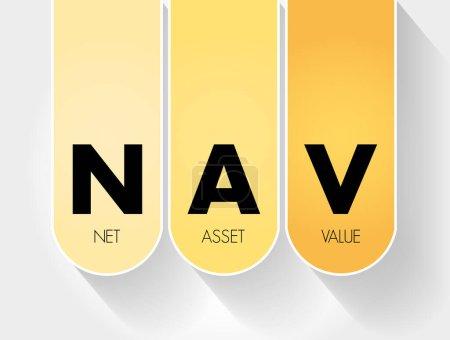 Illustration pour NAV - Valeur nette d'inventaire acronyme, contexte du concept d'entreprise - image libre de droit