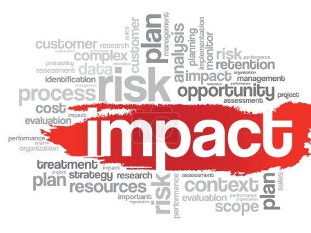 Illustration pour Nuage de mots des éléments liés à IMPACT, fond de présentation - image libre de droit